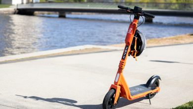 e-scooters by the lake in Canberra