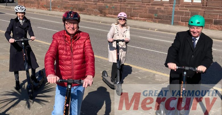 The test with the Great Yarmouth Ginger e-scooter begins with the start