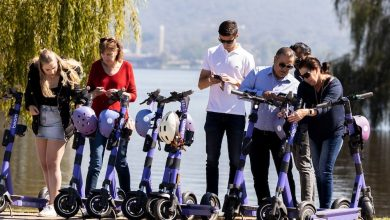 A line of several people about to hop on purple e-scooters beside Lake Burley Griffin in Canberra