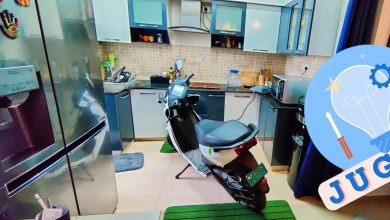 Ather Electric Scooter Charging Inside Kitchen